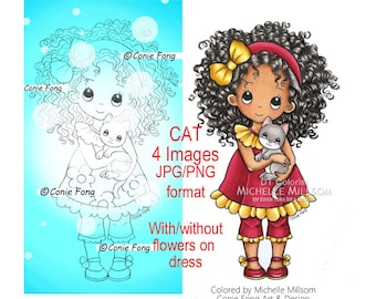 Digital stamp, digi stamp, digistamp, Sophie and Kitty by Conie Fong, Birthday, Sympathy, Thinking of You, kitty, cat, girl holding kitty