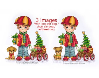 SALE Digital Stamp, Digi Stamp, digistamp, Benny's Christmas by Conie Fong, boy, dog, puppy,  gifts, wagon,  coloring page