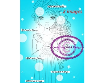 Digital Stamp, Digi Stamp, digistamp, 2 images, Ella with Cupcake by Conie Fong, birthday, cupcake, girl, flower, peony, Coloring Page,