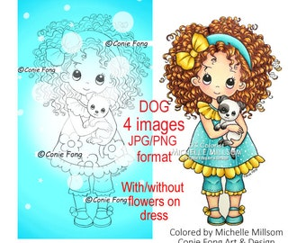 Digital stamp, digi stamp, digistamp, Sophie and Puppy by Conie Fong, Birthday, Sympathy, Thinking of You, puppy, dog, girl holding dog