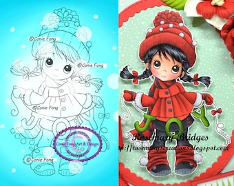 Digital Stamp, Digi Stamp, digistamp, Molly's Joy by Conie Fong, Christmas, Winter, Joy, coloring page, children, girl, bird, braids