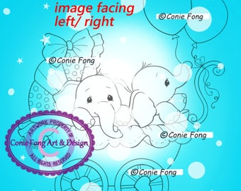 Digital Stamp, Digi Stamp, Digistamp, Twin Blessings Conie Fong, Coloring Page, Baby, Boy, Girl, Elephant, Birthday, Carriage, Balloon