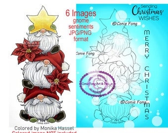 Digital Stamp, Digi Stamp, digistamp, Christmas Gnome Stack and Sentiment Bundle by Conie Fong, Santa, poinsettia, tree, star, coloring page