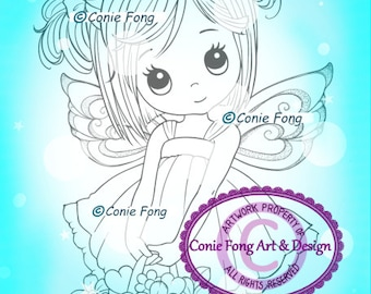 Digital Stamp, Digi Stamp, digistamp, Molly Fairy by Conie Fong, birthday, sympathy, mother's day, get well, basket, flowers, coloring page