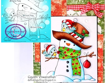 Sale Digital Stamp, Digi Stamp, digistamp,  Snowman and Birdie Friends by Conie Fong, Christmas, Winter, Bird, coloring page, children