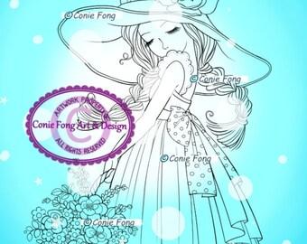 Digital Stamp, Digi Stamp, digistamp, Lavender's Blue by Conie Fong, Coloring Page, girl, flower, basket