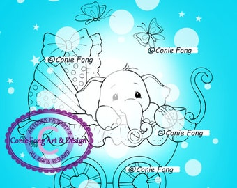 Digital Stamp, Digi Stamp, Digistamp, Baby Ellie by Conie Fong, Coloring Page, Baby, Boy, Girl, Elephant, Birthday, Carriage