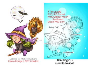 SALE Digital Stamp, Digi Stamp, digistamp, Witchy Broomstick Gnome and Sentiment Bundle by Conie Fong, Halloween, Witch, broom, girl, bat