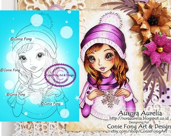 Digital Stamp, Digi Stamp, digistamp, Susie Snowflake by Conie Fong, Christmas, Birthday, girl, winter, coloring page, snow