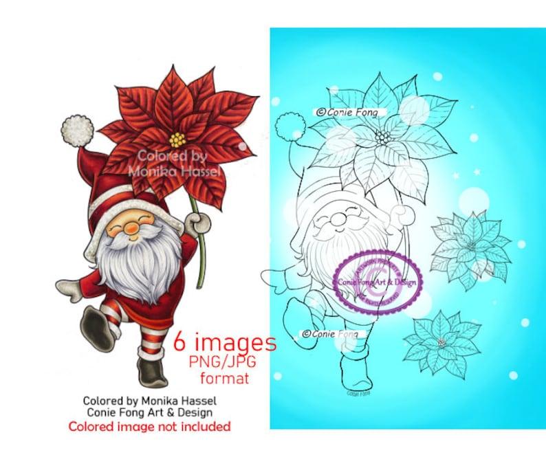 SALE Digital Stamp Digi Stamp digistamp Poinsettia Gnome image 0