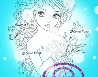 Digital Stamp, Digi Stamp, digistamp,  Butterfly Kisses Conie Fong, flower, peony, Coloring Page, girl, braids