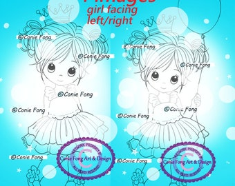 Digital Stamp, Digi Stamp, Digistamp, Princess Molly  Bundle by Conie Fong, Coloring Page,  birthday, princess, girl, balloon,