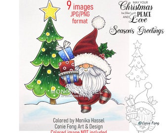 SALE Digital Stamp, Digi Stamp, digistamp, Christmas Present Gnome And Sentiment Bundle by Conie Fong, Santa, Christmas Tree, coloring page