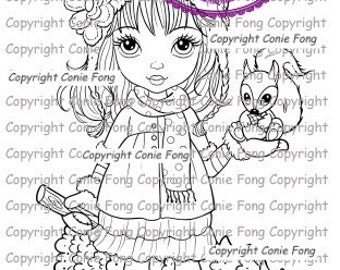 Digital Stamp, Digi Stamp, digistamp, Sally and Little Squirrel Revised by Conie Fong, Christmas, Girl, squirrel, children, coloring page