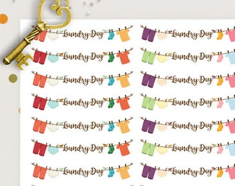 Laundry Day Planner Stickers |  Laundry Stickers | Chore Stickers