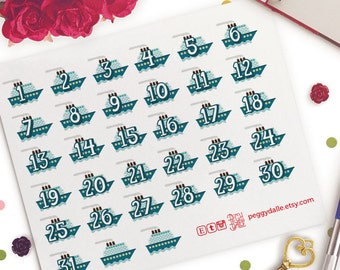 Cruise Travel Countdown Numbers Date Planner Stickers | Life Planners | Vacation | Ship | Boat | Holidays