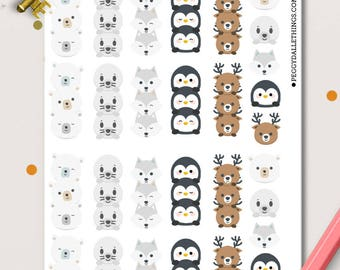 Arctic Animals Checklists Planner Stickers |  Animals | Penguins | Seals | Bears | Wolves | Foxes | Deer