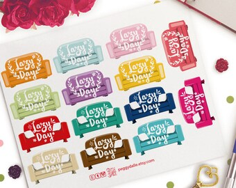 Lazy Day Functional Planner Stickers | Erin Condren | Kikki K | Filofax |  Couch | Floral | Wreath