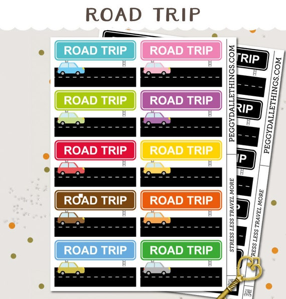 road trip planner stickers cars day off camping etsy