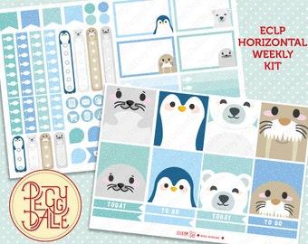 Arctic Animals Weekly Kit Planner Stickers   Erin Condren Horizontal   Seals   Penguins   Polar Bears   Walrus