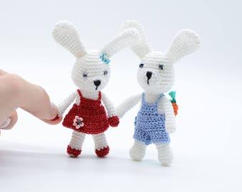 Miniature bunny, crochet bunnies, amigurumi Easter basket, baby bunnies, white rabbits, couple bunnies toy, handmade gifts