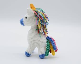 Rainbow unicorn, blue pony gift, crochet animal, plush toy, small horse