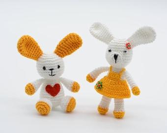Miniature rabbits, wedding gifts, stuffed amigurmi crochet dolls