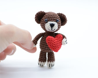Teddy bear, handmade cuddly toys, crochet small Amigurumi, perfect gifts