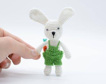 Handmade Bunny, miniature bunny, amigurumi gift, collectible bunny, handmade rabbit, green bunny boy, shower gift toy, plush bunny decor