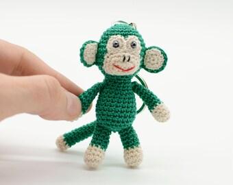 Keychain Monkey, crochet Monkey, Amigurumi Monkey, green Monkey keychain, luck charm, tiny Monkey, keyring toy, little monkey gift