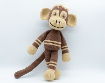 Plush Monkey, cuddly toys gifts, Amigurumi for kids, brown crochet playful monkey