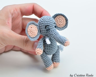 Elephant plush toy, stuffed animal, baby Flappy ears, soft miniature amigurumi