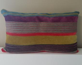 Multicolor striped pillow