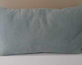 Large blue piped cushion