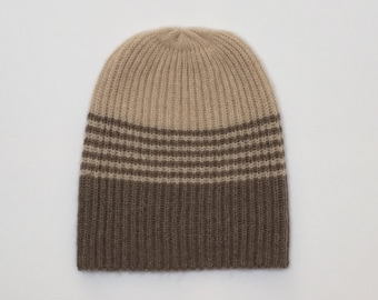 Cashmere hat two colours, beige/Brown, beanie, cashmere hat