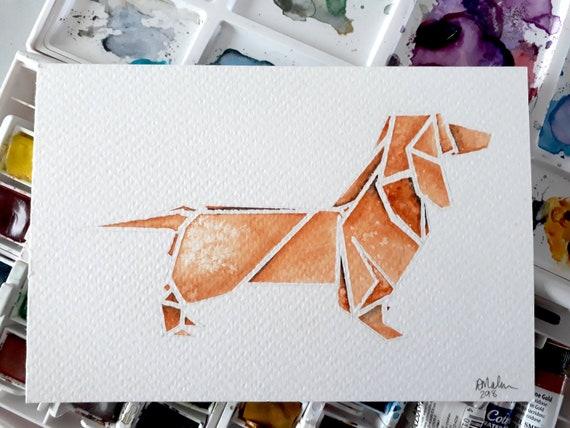 Origami Dachshund Etsy