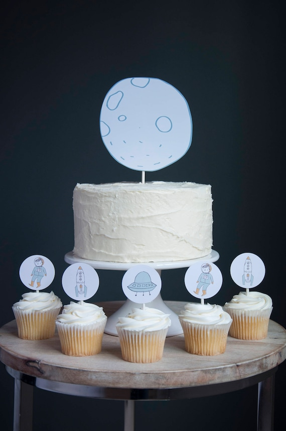 Pleasing Moon Birthday Cake Topper Set Astronaut Cupcake Set Etsy Personalised Birthday Cards Paralily Jamesorg