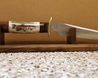 Custom Hand Made Knife with Walnut Stand- Carved Trout in Elk Antler Handle- North Carolina Artist