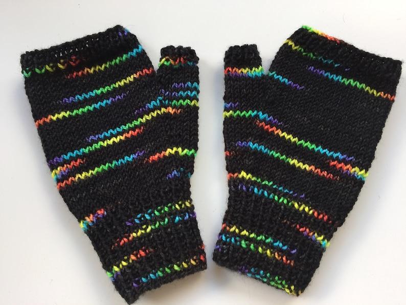 Hand Dyed ZX Spectrum Rainbow Coloured Mittens