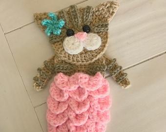 Nella's Exclusive- Crochet Pattern - INSTANT PDF DOWNLOAD - Crochet- Crochet Applique - Applique Pattern - Meowmaid Pattern - Cat - Mermaid