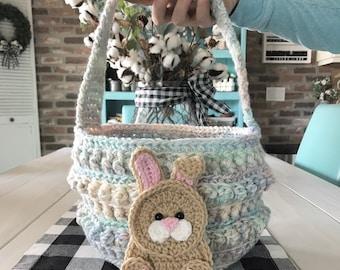Crochet Pattern - INSTANT PDF DOWNLOAD - Crochet Easter Basket - Easter Basket - Nellas Cottage Patterns - Crocheted Easter - Easter - Decor