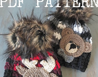 Crochet Pattern - INSTANT PDF DOWNLOAD - Crochet Patterns - Baby Beanie Patterns - Plaid Hat Pattern - Moose Pattern - Bear Pattern - Plaid