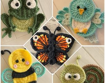 Crochet Pattern - INSTANT PDF DOWNLOAD - Crochet Garden Friends - Bumble Bee - Frog - Bird - Snail - Butterfly - Crochet Appliqués