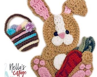 Nella's Exclusive- Crochet Pattern - INSTANT PDF DOWNLOAD - Crochet Easter Bunny - Easter - Easter Bunny Appliqué - Crochet Applique