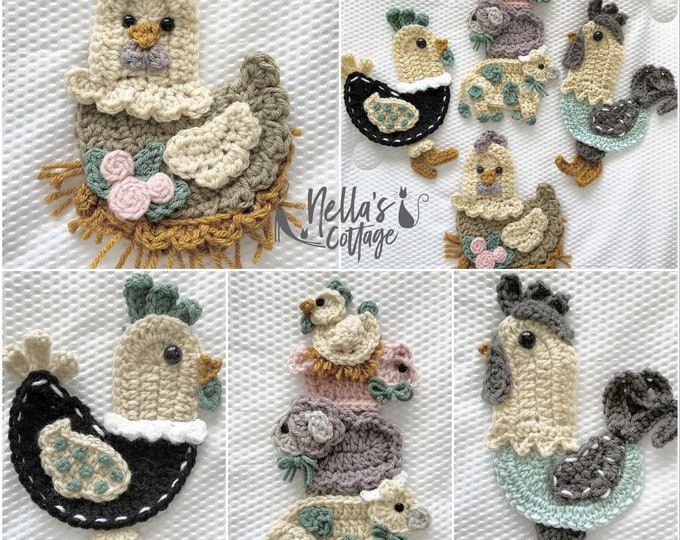 Featured listing image: Crochet Pattern - INSTANT PDF DOWNLOAD - Country Chickens - Nellas Cottage - Chicken Appliques - Country Farmhouse - Chicken - Farm Girl