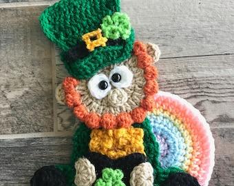 Nella s Exclusive- Crochet Pattern - INSTANT PDF DOWNLOAD - Applique  Pattern - Crochet - Irish - Leprechaun - Rainbow - St Patricks Day 4704aacadaa