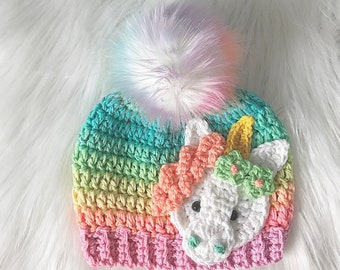 d748c29cc0e Handmade Unicorn Beanie - Rainbow Unicorn Beanie - Unicorn - Beanie - Hat -  Ombre - Gifts for Her - Unicorn Hat - Unicorn Hats - Crochet