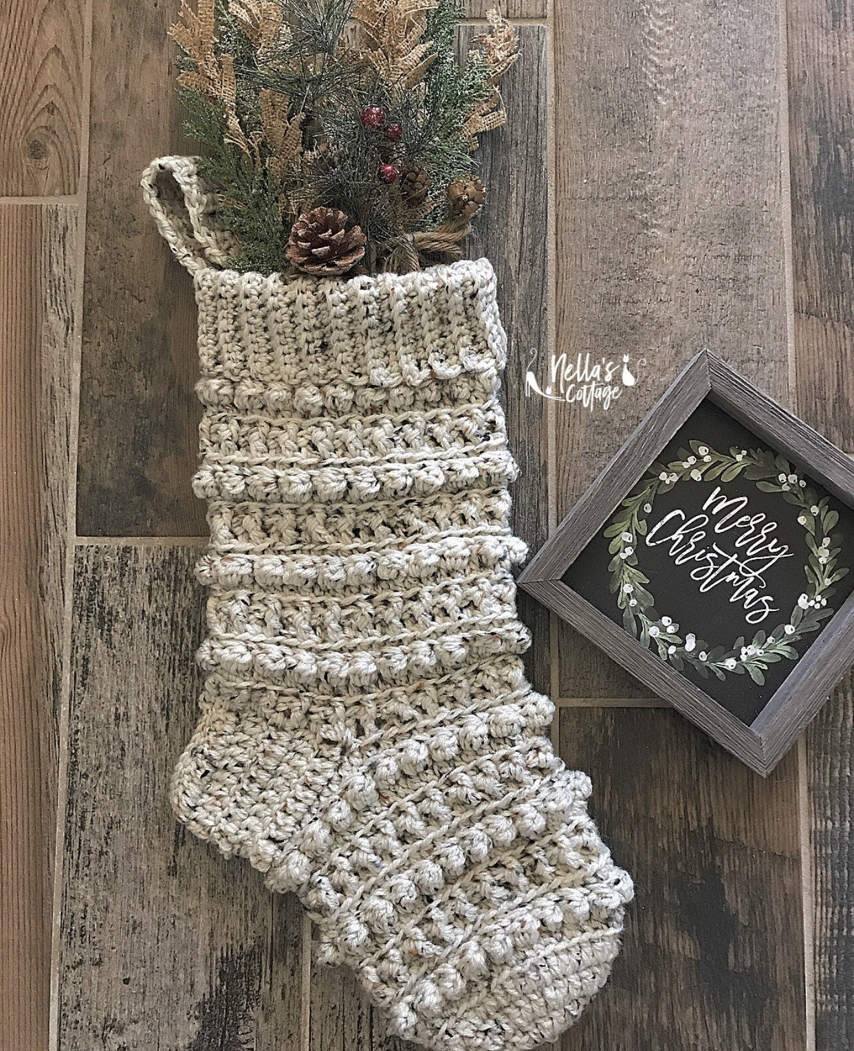 Crocheted christmas stocking rustic christmas decor christmas stocking handmade stocking
