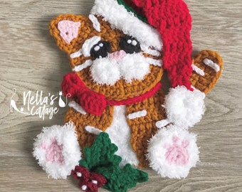 Crochet Pattern - Instant PDF DOWNLOAD - Christmas Cat - Christmas - Nellas Cottage - Christmas Tom - Crochet -Patterns - Holiday Patterns