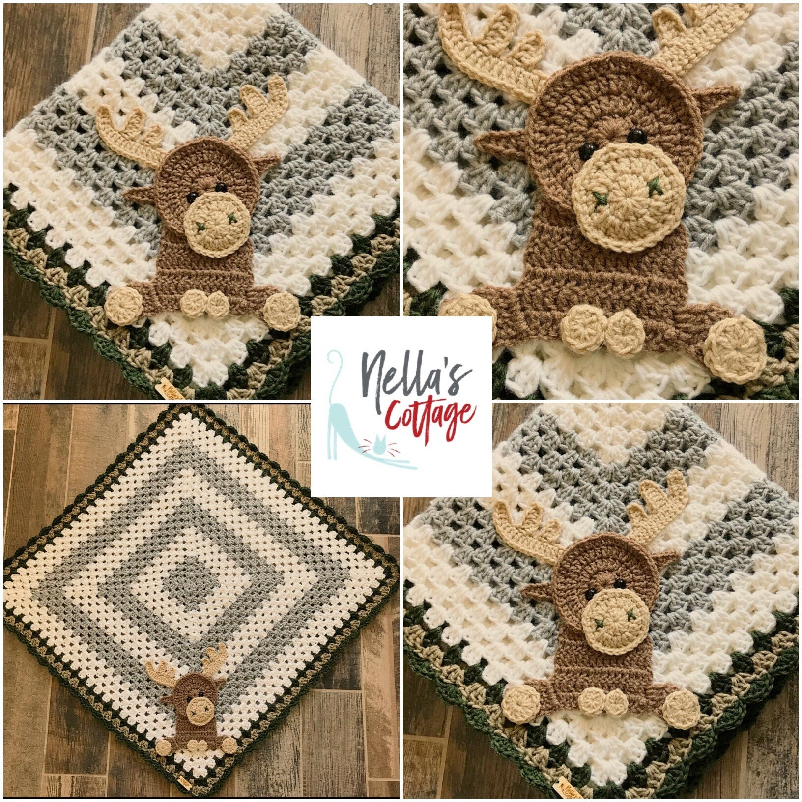 Blanket Moose Baby Blanket Crocheted Moose Blanket Baby